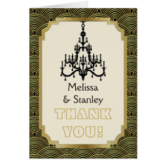 Art Deco chandelier black, gold wedding Thank You Card