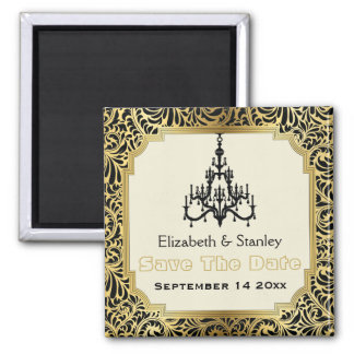 Art Deco chandelier wedding Save the Date Square Magnet