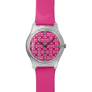 Art Deco Chinese Fret, Fuchsia Pink Watch