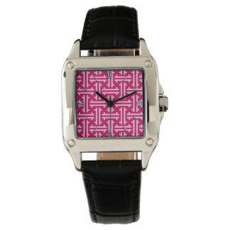 Art Deco Chinese Fret, Fuchsia Pink Watch