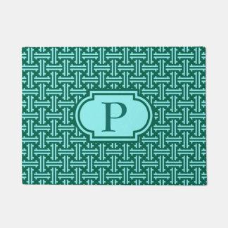 Art Deco Chinese Fret, Turquoise and Aqua Doormat
