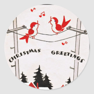 Art Deco Christmas Birds Classic Round Sticker