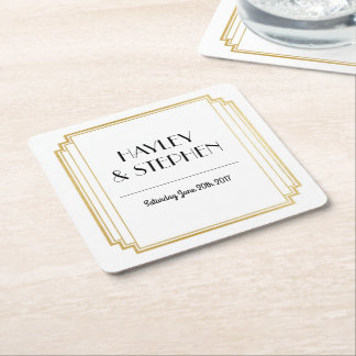 Art Deco Coasters White & Gold Wedding Party