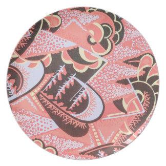 Art Deco Coral Black Tan Melamine Plate