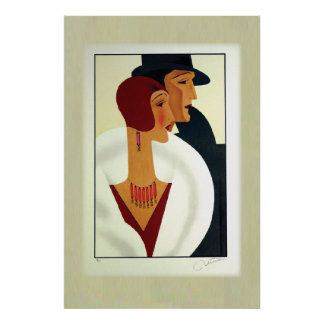 Art Deco Couple 1920s Poster