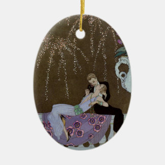 Art Deco Couple Kissing Ceramic Ornament