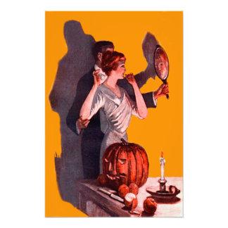 Art Deco Couple Mirror Jack O Lantern Pumpkin Art Photo