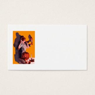 Art Deco Couple Mirror Jack O Lantern Pumpkin Business Card