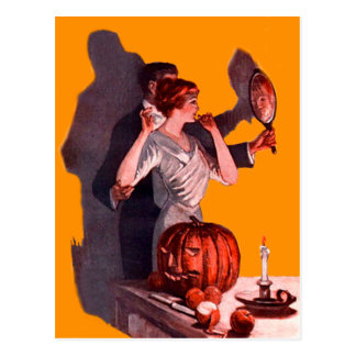 Art Deco Couple Mirror Jack O Lantern Pumpkin Postcard