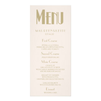 Art Deco Custom Wedding Dinner Menu Card Custom Rack Cards