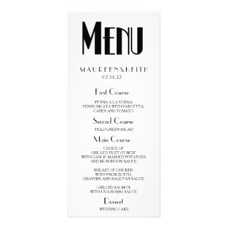 Art Deco Custom Wedding Dinner Menu Card Customized Rack Card