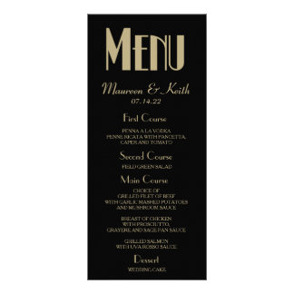 Art Deco Custom Wedding Dinner Menu Card Rack Cards