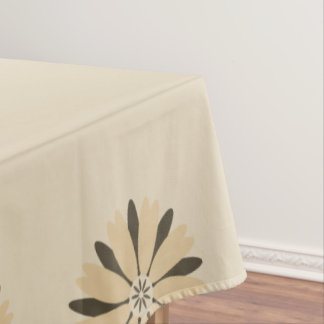 art-deco  daisy border in sepia and beige tablecloth
