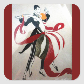 ART DECO DANCERS SQUARE STICKER