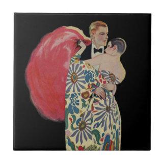Art Deco Dancing, Vintage Love and Romance Ceramic Tile