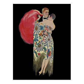 Art Deco Dancing, Vintage Love and Romance Postcard