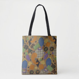 art deco design, geometric shapes tote bag