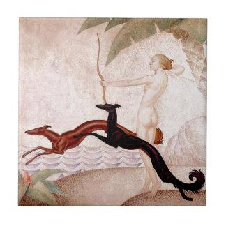 Art Deco Diana And Borzoi Tile