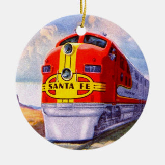 Art Deco Diesel Locomotive Ceramic Ornament