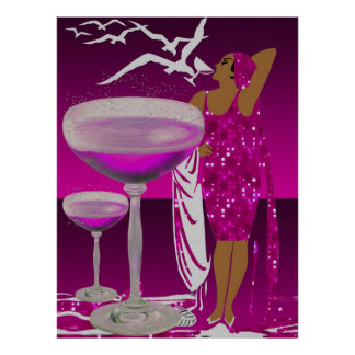 ART DECO Diva Glamorous LADY Pink Champagne Poster