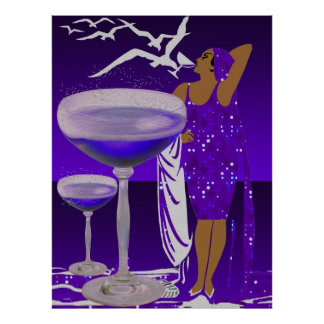 ART DECO Diva Glamorous LADY Purple Champagne Poster