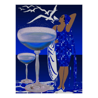 ART DECO Diva LADY Blue Champagne Poster