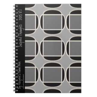 Art Deco Does Morocco-Black-Gray - Personalized Spiral Note Book