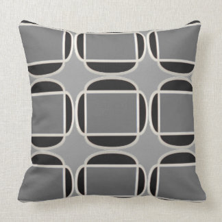 Art Deco Does Morocco in Black and Gray Throw Pillow