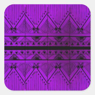 Art Deco Effect Design Lavender Purple Black Trim Square Sticker