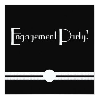 "Art Deco Engagement Party Retro Vintage 5.25"" Square Invitation Card"