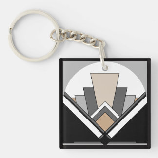 Art Deco Expression Double-Sided Square Acrylic Keychain