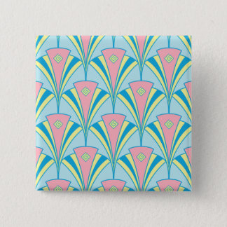 Art Deco Fan Miami Repeat Pattern 2 Inch Square Button