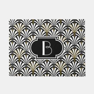 Art Deco fan pattern - black and white Doormat