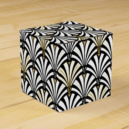 Art Deco fan pattern - black and white Favor Box