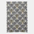 Art Deco fan pattern - black and white Kitchen Towel