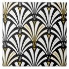 Art Deco fan pattern - black and white Tile