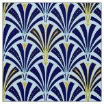 Art Deco fan pattern - cobalt and sky blue Fabric