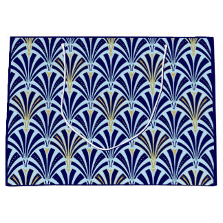 Art Deco fan pattern - cobalt and sky blue Large Gift Bag