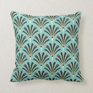 Art Deco Fan Pattern on Aqua 2 Throw Pillow