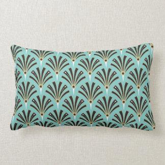 Art Deco Fan Pattern on Aqua Lumbar Pillow