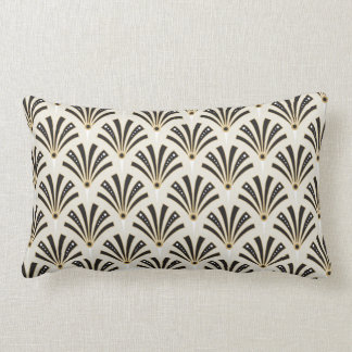Art Deco Fan Pattern on Cream Lumbar Pillow