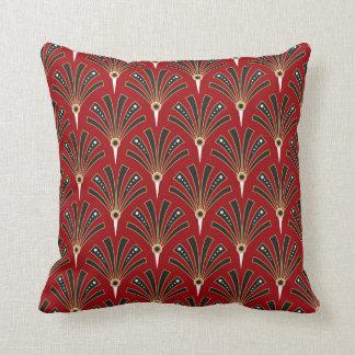 Art Deco Fan Pattern on Red 2 Throw Pillow