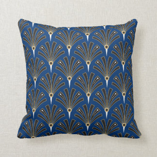 Art Deco Fan Pattern on Royal Blue 2 Throw Pillow