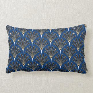 Art Deco Fan Pattern on Royal Blue Lumbar Pillow