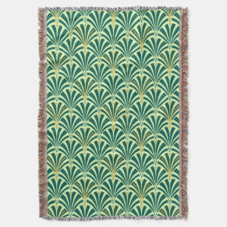 Art Deco fan pattern - pine and mint green Throw Blanket