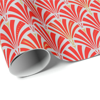 Art Deco fan pattern - red on pearl gray Wrapping Paper
