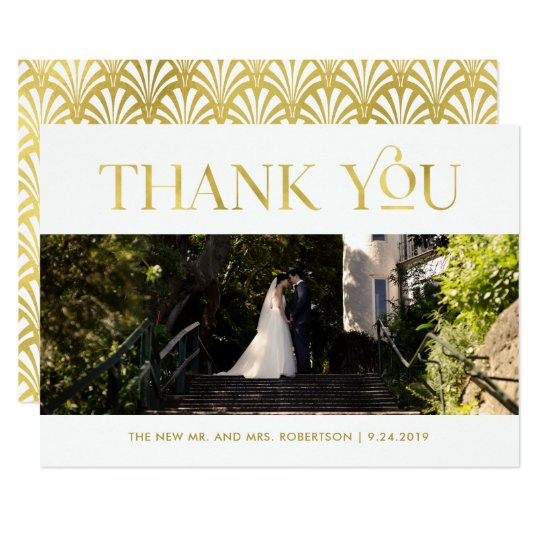 Art Deco Faux Gold on White | Photo Thank You Card