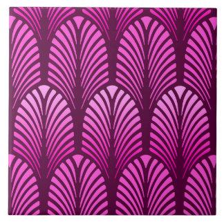 Art Deco Feather Pattern, Amethyst Purple Ceramic Tiles