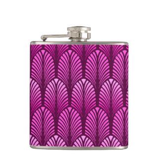 Art Deco Feather Pattern, Amethyst Purple Hip Flask