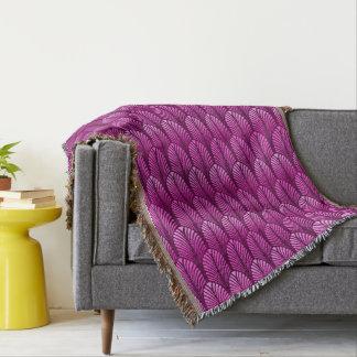 Art Deco Feather Pattern, Amethyst Purple Throw Blanket